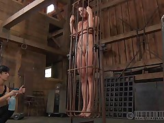 A metal cage and a harsh mistress is all that this cunt needs to be disciplined. Stick around and have a enjoyment how the mistress plays with this naked gal and how tractable she will become. Every nasty doxy merits a treatment like this!
