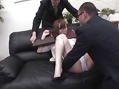 Now here's a concept that works! A excited asian milf secured with a servitude device seems not agree what's going to happen with her large booty. But after the man cuts her panties with scissors and inserts his finger in her taut shaved dark hole that babe suddenly begins moaning and enjoys the treatment.