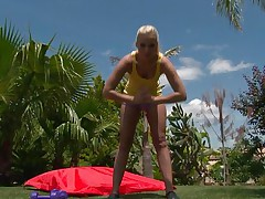 Watch this golden-haired playgirl as this babe works out her hawt body. After a few exercises this babe takes off her clothes and reveals that hawt body, this playgirl has lengthy hawt legs, a cute ass, small hawt pantoons and lengthy gorgeous legs. This babe is showing us what this babe has and makes our cocks hard.