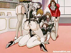 The maids are listening to their owner and they fuck. This perverted lady puts one of the girls to fuck another one with a thong on and that chick does as requested, 1st with a bit of shame but after a while those sluts are getting lewd and they love it so does the mistress as that chick masturbates watching them.