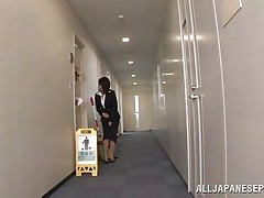Japanese twat wants to piss, but doesn`t know where. That hottie asks a worker, but this guy doesn`t aid her and she pisses outside the building. This chab follows her and watches her. Then, this guy becomes so slutty and begins to play with her moist pussy, recording it at the same time. They go to hide from others when she sucks his cock.