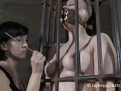 Yeah bitch, u deserve this punishment. U thought that anything needs to be your way and always had lack of respect. Let's watch u in that cage how punk u are now. It's a bit humiliating for such a bad ass girl like u to be caged, bound and pussy rubbed isn't it? Stay there and shut the fuck up.