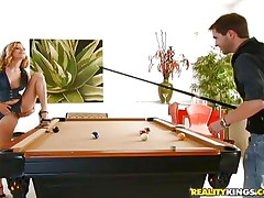 He had enough playing snooker with her and now desires to play with that hairy pussy betwixt her hot thighs. The cute bitch Nicole is pleased to offer him her fur pie and lays on the table, spreads her thighs and let's him do what this chab desires with that sweet hairy cum-hole in advance of engulfing his knob with her luscious lips