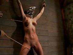 Watch this slut as that chick is tied on the wall and has a bag on her head. That babe is suffocating slowly and to increase the joy of being dominated they castigate her sexy body by drubbing her on the thighs and belly with a stick. After drubbing that chick acquires a vibrator on her cunt and moans with joy and pain. She's so sexy with these clamps on her hard nipps and, will they add greater amount weights?