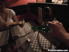 I was having a nice talk with Simona in this restaurant. drinking a glass or 2 and then I offered her money to fuck with me. The cute dark brown accepted so we went in the restroom. She knelt in front of my 10-Pounder and begin to engulf it like a cheap whore. My cock is large and thick but she manages to gulp it. Good girl