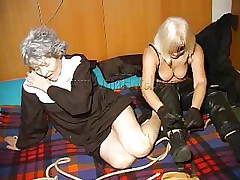 An old nun is about to experience something that she never though it's possible. This blond unties her hands and gives the old bitch some whipping. This babe then rolls her over whips her some greater amount and starts to undress. This is a classic and things are just about to acquire a lot greater amount interesting, stay with us and see