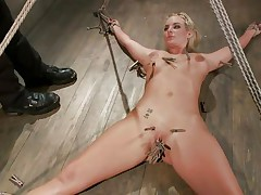 Lustful golden-haired Marie has her body all fastened up and her legs widen on the floor. Her horny executor enjoys touching her wet hairless pussy and torturing it at the same time with a lot of laundry pliers. This dude tickles it, but doesn`t let her cum also soon. This dude 1st craves to bring a sex tool in the scene. So hot!