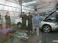 Blond hottie Leya Falcon gets her bazookas and hands tied jointly in rope servitude by hawt brunette milf. Tommy Pistol puts her on her knees and copulates her face hole roughly, spitting on her pleasant whore face. Then this chab slams her pink bald pussy against the white car. That babe enjoys having large white meat inside her vagina.