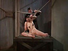 That guy tied her in a very uncomfortable position and used clamps on her nipples. She is ball gagged so that the screaming and moaning won't disturb the executor as this chab roughly rubs her cunt with a vibrator. The doxy stays there and has no thing to do then accept her situation. Curios what else awaits this bitch?