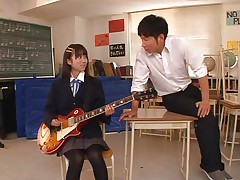 Gorgeous schoolgirl Asuka is in the classroom, learning to play the guitar. This whore is greater amount interested in her professor and this guy sees in her a lot of potential but not as a guitar player. She has a lot greater amount talent when it's about a hard dick and gives him one hell of a hand job before bending over in front of him