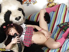 Selena likes Pandas more then ecologists and surely in a very different way. What this babe likes almost all about 'em is that giant dick and the way this babe fills her pussy with it like in this case. See how the brunette hotty spreads her thin legs and acquires her vagina ripped, this babe likes it that way and we have a fun seeing her