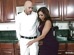 Johnny Sins and Francesca Le was having quite a fun in the kitchen. Johnny got a boner by looking at Le's cleavages and Le was helping Johnny to phat off by giving him a blowjob. When Ariella Ferrera came in the kitchen this honey likewise wanted to join the engulf party and lucky Johnny gets a hell of a duo blowjobs while tese hot and sexy milf are taking out their boobs!