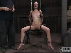 She wanted to to be humiliated and punished just like a wench that she is. Well Hailey got what she wanted and now she's tied up on that chair and disgraced. The executor wrote wench on her forehead and opened her mouth with a device. Wonder why? Then stick around and find out!