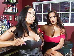 Kiara Mia and Nina Mercedez are 2 hot MILFs these love to play lesbo often. In a bar, these 2 were alone and their homosexuality jumps out of their cages for a dominating hardcore lesbo love. One of 'em got rough with one more one and made her to strip, suck boobs & nipples, receive booty slapped and pussy licked.