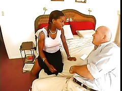 Violet Demarco is a slim black midget milf with big tits. The hot honey with a nice ass knows how to please a guy and that's the reason Claudio called her. They take their garments off and that honey starts sucking on his strong cock. Being a sexually experienced woman, that honey doesn't forget to take up with the tongue and suck his balls.