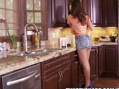 This single young dark brown hair calls a plumber to fx her sink but ends up giving him an amaing upskirt view