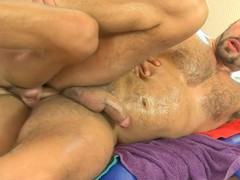 Shaggy fellow acquires a lusty anal spooning from masseur