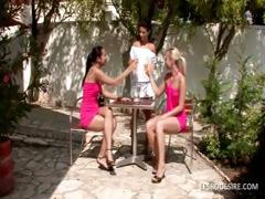 Three lesbian women have hot romantic action in the garden