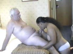 Chunky playgirl from India grinding on white old man's meaty penis