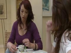 Two concupiscent brunette MILF's have tea party and take up with the tongue each others muff
