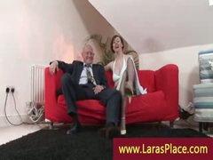 Fashionable lady in nylons undressing and seducing a man