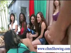 Cfnm beauties jerking off guy in a swing while he eats muff