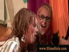 Bukkake loving lesbians getting soaked and bawdy with slime shower