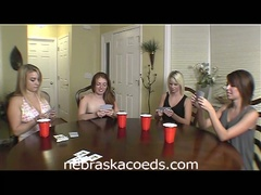 Hot college sweethearts play disrobe poker