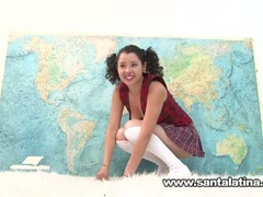 Hawt nasty latin babe masturbating while taking geography test