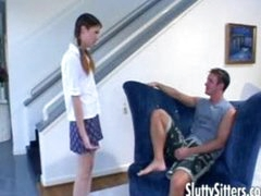 Petite legal age teenager babysitter in action