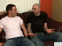 Three homosexual guys talk and start fondling and giving a kiss