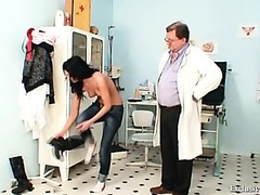 Gabina abased during kinky gyno speculum exam by old doctor