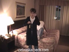 Drunk college babes fur pie play in hotel