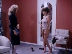 Chicks with sexy natural whoppers fool around in retro video