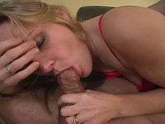 Golden-haired wife comes home from a short day of work to a lascivious hubby