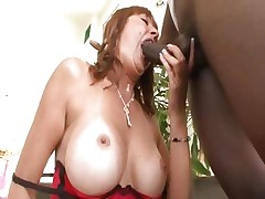 Busty mom Desi Foxx acquires it from a large black pecker