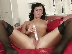 Tess Lyndon toy copulates her soaking juicy snatch