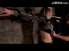 Golden-haired Angel Tied To Cross Abdomen And A-hole Spanked Bumpers Rubbed In The Dungeon