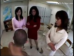 3 Teachers Raping Dude Rubbing His Face With Love bubbles Getting Love tunnel Licked In The Classroom