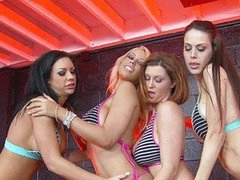 Bridgette B, Mason Moore, Mckenzie Lee, Phoenix Marie, Sara Sloane, Sarah Vandella, and Sophie Dee all have one thing in common:  They're all hawt and they all have great bumpers.  Watch 'em oil up and fuck, taking those hard males in one of the almost all slippery sex scenes we've filmed in a lengthy time.