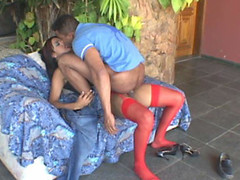 Sexy chap getting impaled on rocky ramrod of sex-starving shemale in red nylons