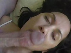 Pliant wife licks cock and balls and gets cum treat