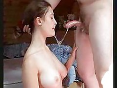 Worthwhile pale  brunette girlfriend naked on her bed and giving the one of the wettest BJs ever caught on amateur video. This chaps shlong gets completely overspread with dripping saliva.