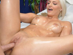 Cute blond Macy is enticed and drilled hard by her massage therapist