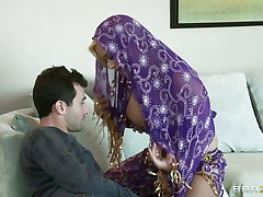 James Deen is glad by the big milk sacks of shyla stylez wearing abdomen dancer wardrobe. This babe is looking breathtaking in purple. Her milk sacks are groped hard by deen and licking it with passion. This babe really wants her pussy being rubbed too.