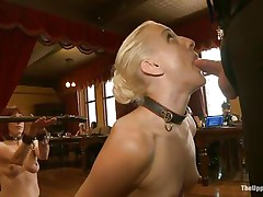 Dylan Ryan is a blonde milf with nice natural tits who likes being an obeying sex slave. The sweet girl loves when someone is inserting wooden poles in her shaved pussy. See her sucking on that cock whilst she acquires dildo fucked with roughness from behind. The kneeling babe gags his cock for more pleasure.