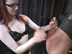 Claire Adams is a sexy ginger milf who has her chap bound and upside down. He's wrapped in some kind of cloth. This babe bonks his wazoo with a sex tool by hand, then spanks him. Beautiful soon she's hitting him with a leather crop and pulling his hair, making him cry out. This babe starts cutting him free for what's next.
