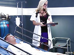 Dr. Alena Croft comes in to check on her patient Bill Bailey. He's not feeling well so this playgirl waves her gazoo in his face to see if that helps. That guy needs more medicine in the form of a worthwhile fucking. She climbs on his couch and wraps her love tunnel lips around his aching cock.