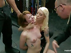 Sexually excited redhead Claire enjoys being humiliated in public. This hottie sits on her knees with a sex-toy on her cunt and is expecting for greater amount commands from the people who are watching her. A strong men makes her throat engulf his large hard dick, then puts her on a chair and begins fucking that wet pussy. Check it out!