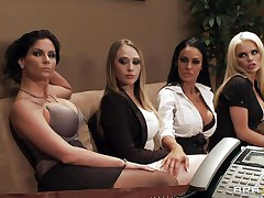 Watch these four hawt honeys seducing their boss for a salary raise. See how they're undressing and start touching, giving a kiss and licking each others bobs. Seems that the boss is joining the party so they start engulfing his hard cock. Somebody is getting a salary raise!